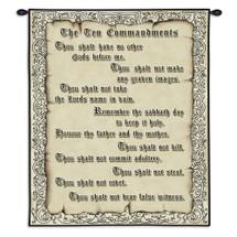 The Ten Commandments | Woven Tapestry Wall Art Hanging | Religious Beige Ten Commandments Hanging Christian Jewish Biblical Art | 100% Cotton USA 32X26 Wall Tapestry