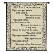 The Ten Commandments | Woven Tapestry Wall Art Hanging | Religious Beige Biblical Commandments | 100% Cotton USA Size 34x26 Wall Tapestry