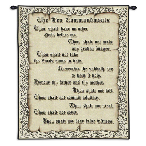 Pure Country Weavers - The Ten Commandments Hand Finished European Style Jacquard Woven Wall Tapestry. USA Size 32x26 Wall Tapestry