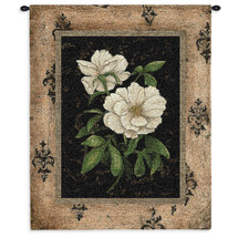 Silver Peony | Woven Tapestry Wall Art Hanging | Botanical Floral Peony Hanging | 100% Cotton USA 33X26 Wall Tapestry
