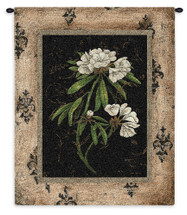 Silver Rhododendron By Regina-Andrew - Woven Tapestry Wall Art Hanging - Botanical Floral Rhododendron Flowers Earthy Frame Artwork - 100% Cotton - USA 33X26 Wall Tapestry