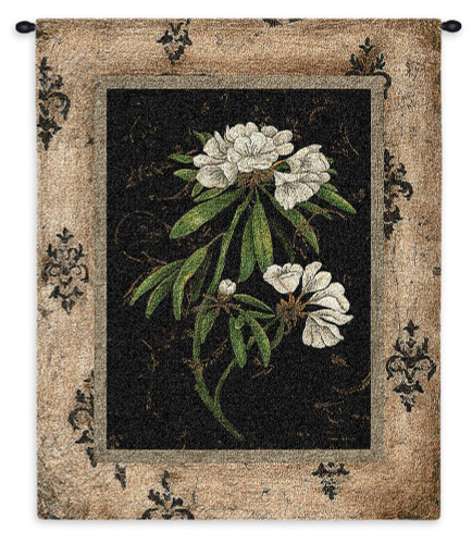Pure Country Weavers - Silver Rhododendron Hand Finished European Style Jacquard Woven Wall Tapestry. USA Size 33x26 Wall Tapestry