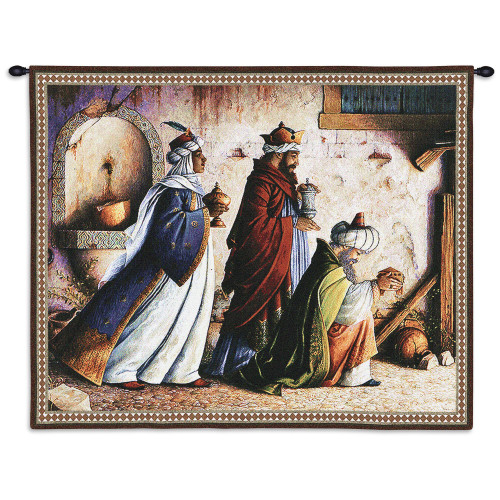 Pure Country Weavers - Three Kings Hand Finished European Style Jacquard Woven Wall Tapestry. USA Size 26x32 Wall Tapestry