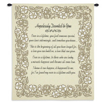 Wedding Embroidery Gold | Woven Tapestry Wall Art Hanging | Romantic Anniversary Poem with Soft Floral Border | 100% Cotton USA Size 34x26 Wall Tapestry