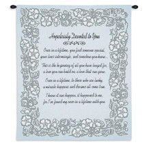 Wedding Embroidery Silver | Woven Tapestry Wall Art Hanging | Romantic Anniversary Poem with Soft Floral Border | 100% Cotton USA Size 34x26 Wall Tapestry
