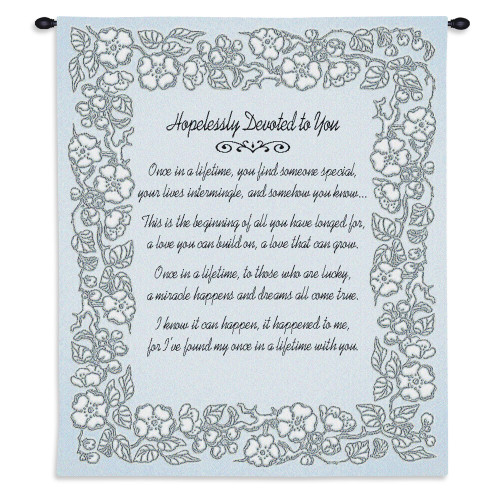 Pure Country Weavers - Wedding Embroidery Silver Hand Finished European Style Jacquard Woven Wall Tapestry. USA Size 32x26 Wall Tapestry