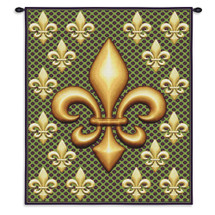 Fleur De Lis | Woven Tapestry Wall Art Hanging | New Orleans Fleur De Lis Lily Flower Royal French Symbol Gold | 100% Cotton USA 32X26 Wall Tapestry