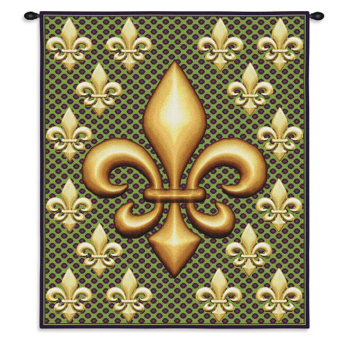 Pure Country Weavers - Fleur De Lis Hand Finished European Style Jacquard Woven Wall Tapestry. USA Size 32x26 Wall Tapestry