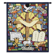 Sunday School | Woven Tapestry Wall Art Hanging | Religious Imagery on Beautiful Stained Glass Window | 100% Cotton USA Size 34x26 Wall Tapestry