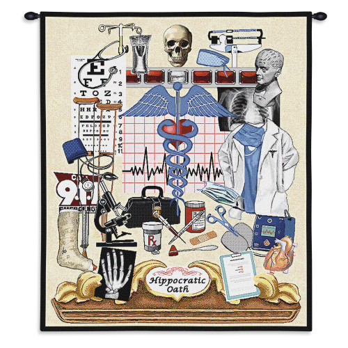 Pure Country Weavers - Hippocratic Oath Doctor Physician Gift Hand Finished European Style Jacquard Woven Wall Tapestry. USA Size 34x26 Wall Tapestry