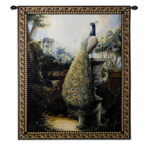 Luogo Tranquillo By Paul Panossian - Woven Tapestry Wall Art Hanging For Home Living Room & Office Decor - Peacock Garden In Ancient Ruins Classical Greek Rome Theme - 100% Cotton - USA 32X26 Wall Tapestry