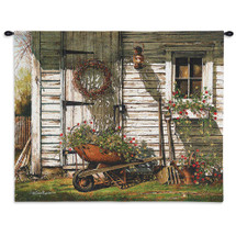 Spring Cleaning by John Rossini | Woven Tapestry Wall Art Hanging | Rustic Barn Is The Backdrop for This Lovely Country Setting Floral Wheel Barrow | 100% Cotton USA 32X27 Wall Tapestry