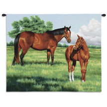 My Pride by Bob Christie | Woven Tapestry Wall Art Hanging | Horses Posing on Grassy Field Equestrian Artwork | 100% Cotton USA Size 34x26 Wall Tapestry