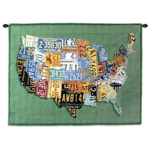 USA Tags by Aaron Foster | Woven Tapestry Wall Art Hanging | Vintage License Plate USA Map | 100% Cotton USA Size 34x26 Wall Tapestry
