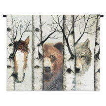 Trio | Woven Tapestry Wall Art Hanging | Diverse Wildlife among Birch Trees | 100% Cotton USA Size 34x26 Wall Tapestry