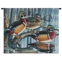 Pure Country Weavers | Backwater Woodies Wood Duck Decor Hand Finished European Style Jacquard Woven Wall Tapestry. USA 26X34 Wall Tapestry