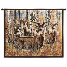 Sudden Encounter - Woven Tapestry Wall Art Hanging For Home Living Room & Office Decor - Buck Stag Doe Deer Camouflaged Set In Forest Hunting Cabin Lodge Decor - 100% Cotton - USA Wall Tapestry