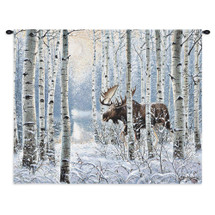 On The Move | Woven Tapestry Wall Art Hanging | Rustic Cabin Lodge Decor Of A Moose Walking Its Way Through A Snowy Birch Tree Landscape | 100% Cotton USA Wall Tapestry