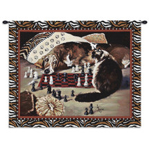 Your Move | Woven Tapestry Wall Art Hanging | Whimsical Dog vs Cat Chess Match | 100% Cotton USA Size 34x26 Wall Tapestry