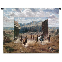 Running Horses | Woven Tapestry Wall Art Hanging | Western Canyon Equestrian Galloping Scene | 100% Cotton USA Size 34x26 Wall Tapestry