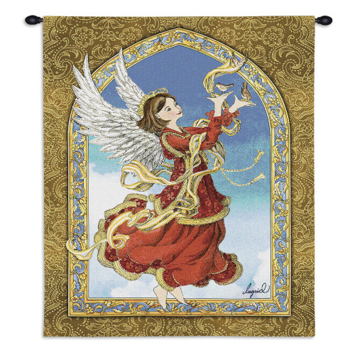 Pure Country Weavers - Crimson Angel Hand Finished European Style Jacquard Woven Wall Tapestry. USA Size 34x26 Wall Tapestry