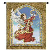 Crimson Angel by Lugrid | Woven Tapestry Wall Art Hanging | Heavenly Winged Guardian Holding Birds | 100% Cotton USA Size 34x26 Wall Tapestry