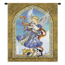 Guardian Angel and Cats by Lugrid | Woven Tapestry Wall Art Hanging | Bold Spiritual Protector with Cuddly Cats | 100% Cotton USA Size 34x26 Wall Tapestry