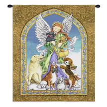 Angel and Dogs | Woven Tapestry Wall Art Hanging | Delightful Dog Gathering Inspirational Art | 100% Cotton USA Size 34x26 Wall Tapestry