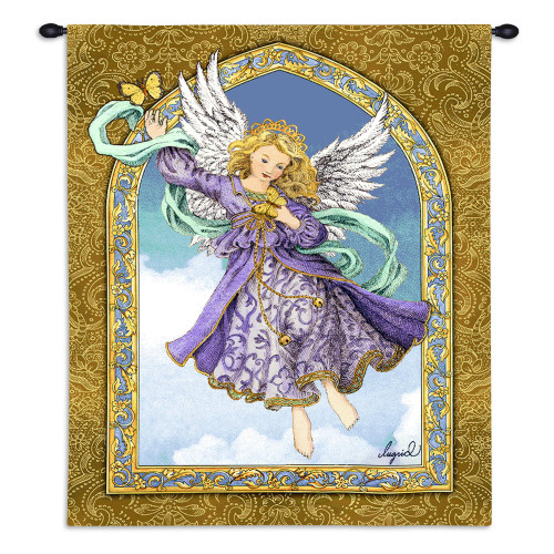 Pure Country Weavers - Lavender Purple Angel Hand Finished European Style Jacquard Woven Wall Tapestry. USA Size 34x26 Wall Tapestry
