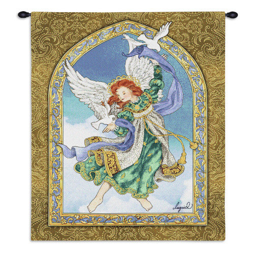 Pure Country Weavers - Peaceful Guardian Angel Hand Finished European Style Jacquard Woven Wall Tapestry. USA Size 34x26 Wall Tapestry