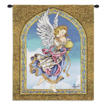 Angel And Baby By Lugrid | Woven Tapestry Wall Art Hanging | Colorful Angelic Guardian Assigned To Protect And Guide A New Born Baby | 100% Cotton USA Wall Tapestry
