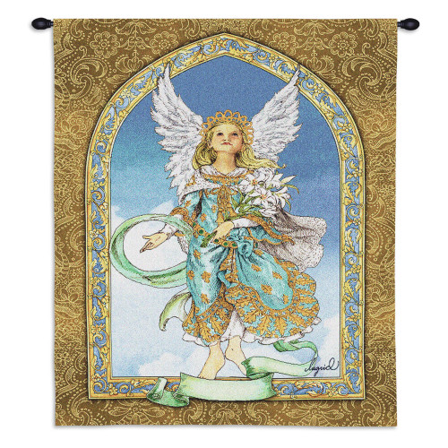 Pure Country Weavers - Mint Guardian Angel Hand Finished European Style Jacquard Woven Wall Tapestry. USA Size 34x26 Wall Tapestry