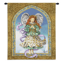 Angel in Prayer by Lugrid | Woven Tapestry Wall Art Hanging | Peaceful Beautiful Guardian Praying | 100% Cotton USA Size 34x26 Wall Tapestry