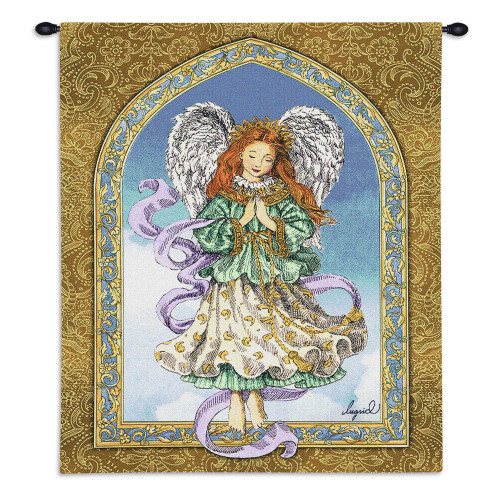Pure Country Weavers - Angel In Prayer Hand Finished European Style Jacquard Woven Wall Tapestry. USA 34X26 Wall Tapestry