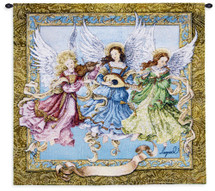 Angelic Trio by Lugrid | Woven Tapestry Wall Art Hanging | Heavenly Spirit Musical Scene | 100% Cotton USA Size 26x24 Wall Tapestry
