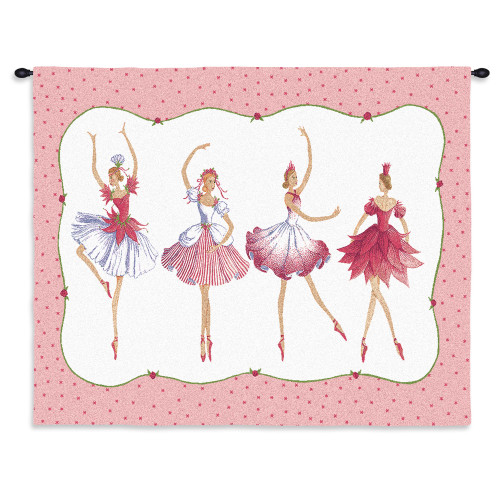 Four Ballerinas | Woven Tapestry Wall Art Hanging | Ballerina Girls Dance Comical Depiction In Pink Color. | 100% Cotton USA Wall Tapestry