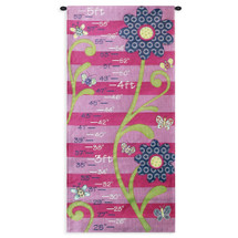 Growth Chart Pink | Woven Tapestry Wall Art Hanging | Flowers with Butterflies and Bees Height Marker | 100% Cotton USA Size 35x17 Wall Tapestry