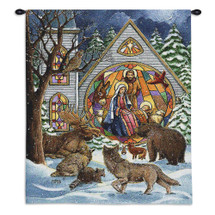 Snowfall Nativity | Woven Tapestry Wall Art Hanging | Animals Observing Stained Glass Nativity Christian Decor | 100% Cotton USA Size 34x26 Wall Tapestry