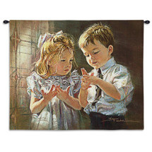 Here is the Church | Woven Tapestry Wall Art Hanging | Churchgoing Children Playing Church Rhyme Game | 100% Cotton USA Size 34x26 Wall Tapestry