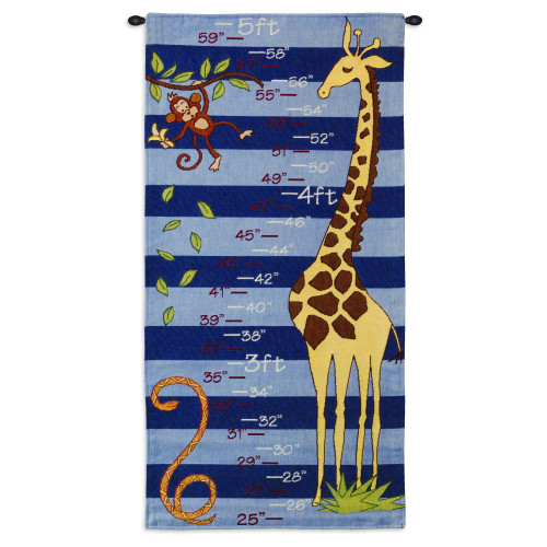Pure Country Weavers - Growth Chart Blue Hand Finished European Style Jacquard Woven Wall Tapestry. USA Size 35x17 Wall Tapestry