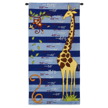 Growth Chart Blue | Woven Tapestry Wall Art Hanging | Jungle Animal Themed Height Marker | 100% Cotton USA Size 35x17 Wall Tapestry