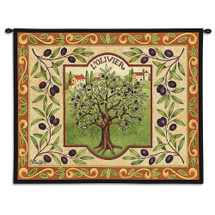 L'Olivier | Woven Tapestry Wall Art Hanging | French Olive Tree with Elaborate Border | 100% Cotton USA Size 34x26 Wall Tapestry