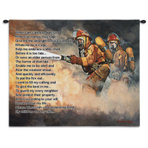 Pure Country Weavers | United We Stand Firefighter Fireman Hand Finished European Style Jacquard Woven Wall Tapestry Hanging Cotton USA 26x34 Wall Tapestry