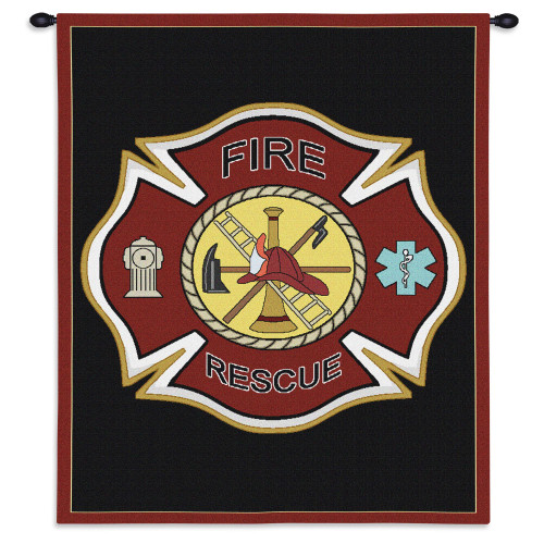 Pure Country Weavers - Firefighter Shield Hand Finished European Style Jacquard Woven Wall Tapestry. USA Size 24x36 Wall Tapestry