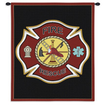 Firefighter Shield | Woven Tapestry Wall Art Hanging | Fire Department Imagery on Crest | 100% Cotton USA Size 36x24 Wall Tapestry