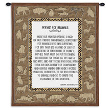 Prayer For Animals | Woven Tapestry Wall Art Hanging | Globally Inspired Texturally Modern Prayer with Animal Border | 100% Cotton USA Size 34x26 Wall Tapestry