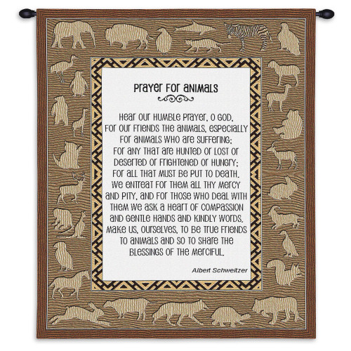 Pure Country Weavers - Prayer For Animals Hand Finished European Style Jacquard Woven Wall Tapestry. USA Size 26x34 Wall Tapestry