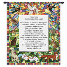 St Francis Of Assisi By Cimabue |Woven Tapestry Wall Art Hanging |Francesco Italian Catholic Friar Deacon Preacher With Prayer And Animals Encircling The Scripture|100% Cotton|USA Wall Tapestry