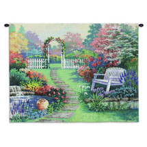 Loved One without Words | Woven Tapestry Wall Art Hanging | Lovely Colorful Garden Path with Flowers | 100% Cotton USA Size 34x26 Wall Tapestry