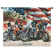 Sturgis   Woven Tapestry Wall Art Hanging   Classic Harley Davidson Bike Week With Mt Rushmore And American Flag Backdrop   100% Cotton USA Wall Tapestry
